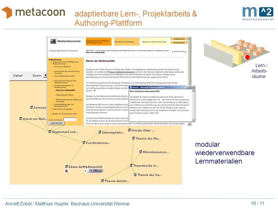 15 / 11 Annett Zobel / Matthias.Hupfer Bauhaus-Universität Weimar adaptierbare Lern-, Projektarbeits & Authoring-Plattform Lern-/ Arbeits- räume Lern-