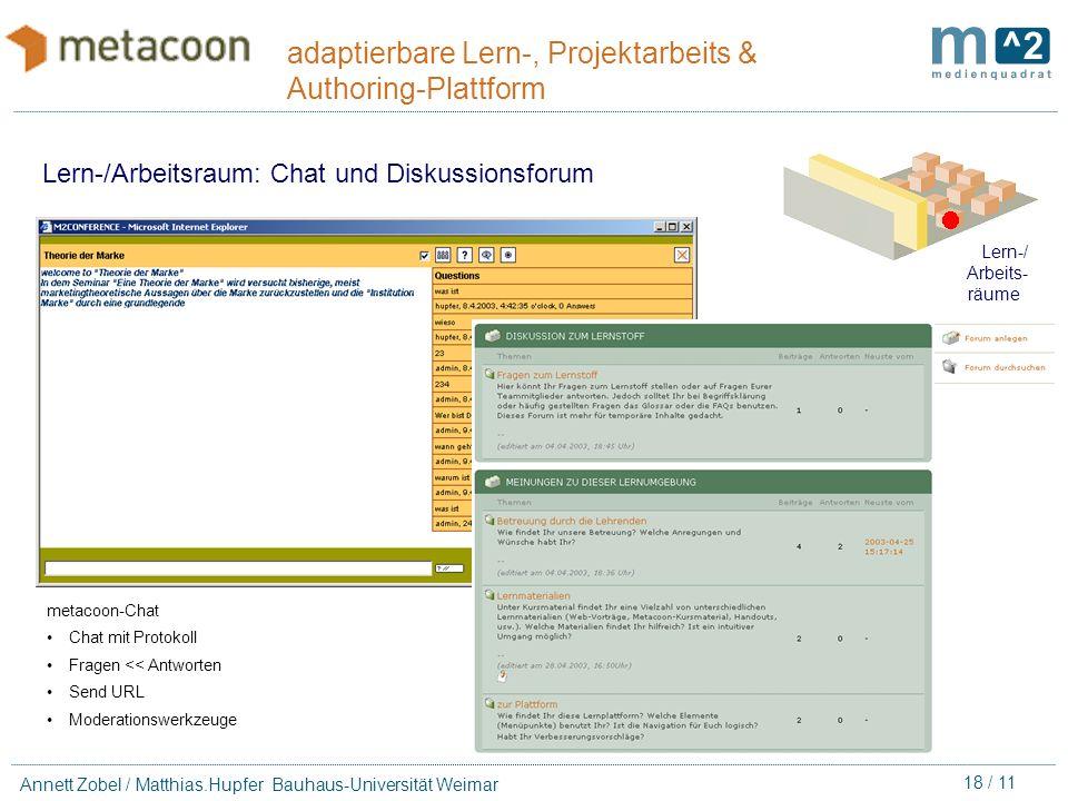 17 / 11 Annett Zobel / Matthias.Hupfer Bauhaus-Universität Weimar adaptierbare Lern-, Projektarbeits & Authoring-Plattform Lern-/ Arbeits- räume Marki