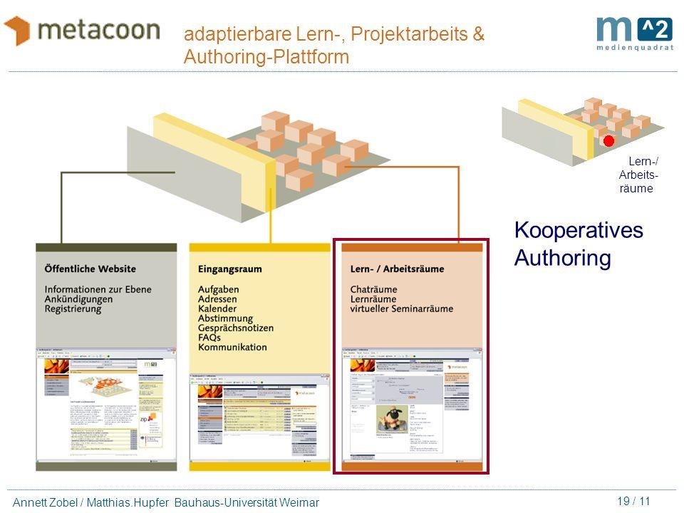 18 / 11 Annett Zobel / Matthias.Hupfer Bauhaus-Universität Weimar adaptierbare Lern-, Projektarbeits & Authoring-Plattform metacoon-Chat Chat mit Prot