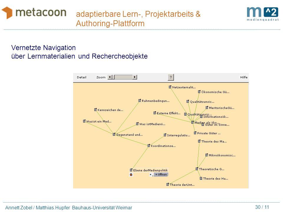 29 / 11 Annett Zobel / Matthias.Hupfer Bauhaus-Universität Weimar adaptierbare Lern-, Projektarbeits & Authoring-Plattform Produktions-Koordination Ge