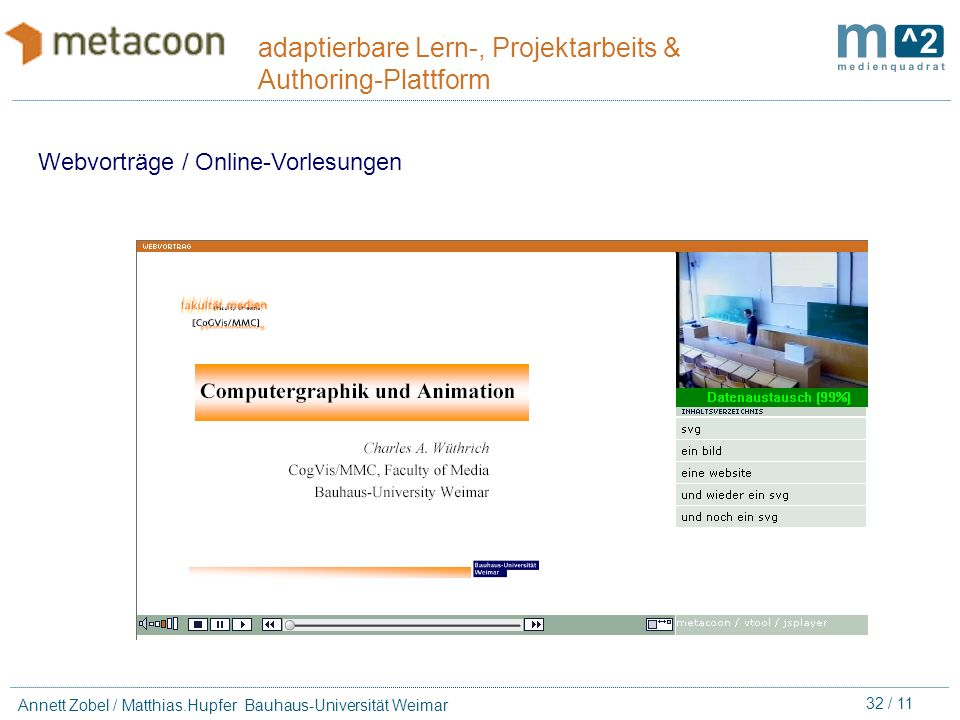 31 / 11 Annett Zobel / Matthias.Hupfer Bauhaus-Universität Weimar adaptierbare Lern-, Projektarbeits & Authoring-Plattform Produktions-Koordination Ge