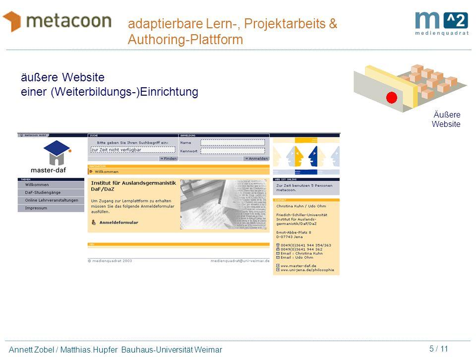 15 / 11 Annett Zobel / Matthias.Hupfer Bauhaus-Universität Weimar adaptierbare Lern-, Projektarbeits & Authoring-Plattform Lern-/ Arbeits- räume Lern- funktionen