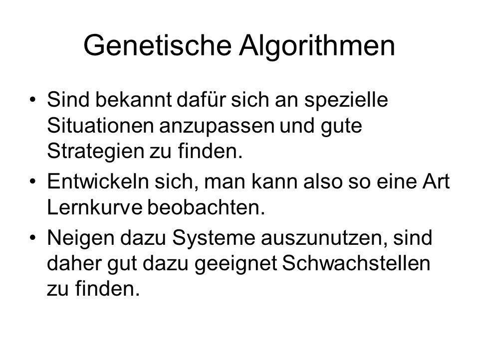 Genetische Algorithmen Sind bekannt dafür sich an spezielle Situationen anzupassen und gute Strategien zu finden. Entwickeln sich, man kann also so ei