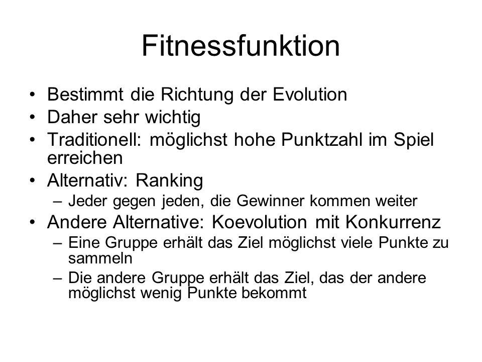 Fitnessfunktion Bestimmt die Richtung der Evolution Daher sehr wichtig Traditionell: möglichst hohe Punktzahl im Spiel erreichen Alternativ: Ranking –