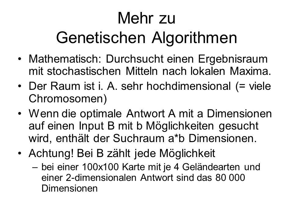 Mehr zu Genetischen Algorithmen Mathematisch: Durchsucht einen Ergebnisraum mit stochastischen Mitteln nach lokalen Maxima. Der Raum ist i. A. sehr ho