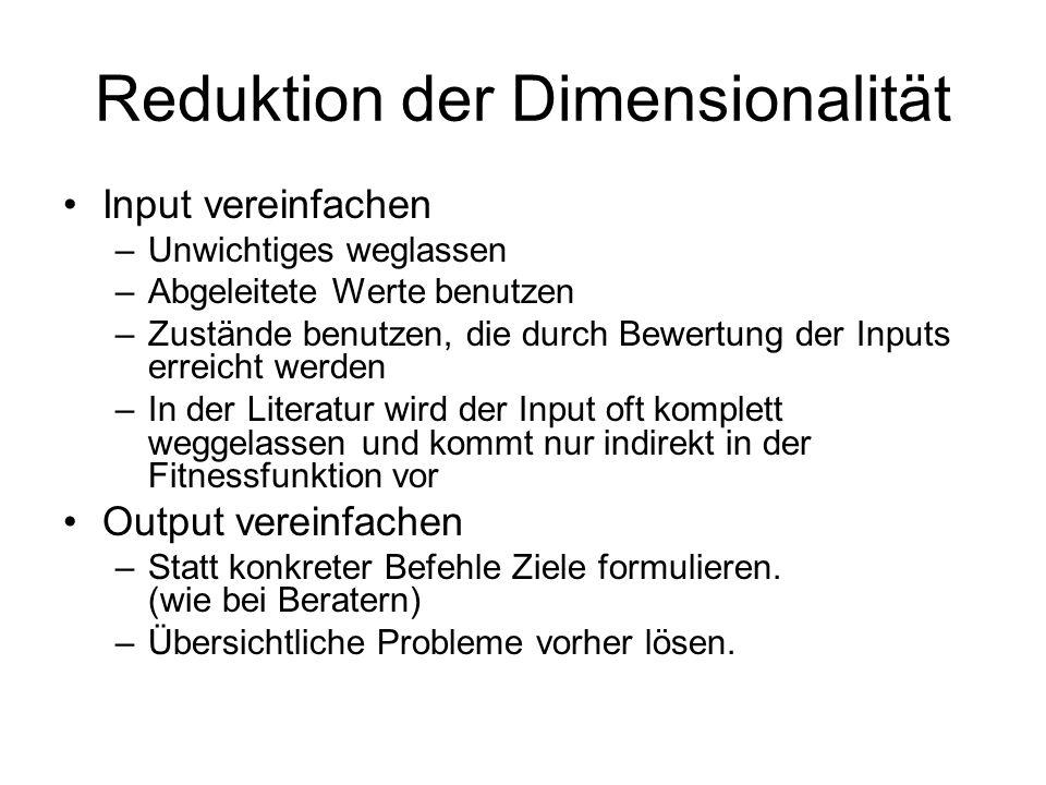 Reduktion der Dimensionalität Input vereinfachen –Unwichtiges weglassen –Abgeleitete Werte benutzen –Zustände benutzen, die durch Bewertung der Inputs