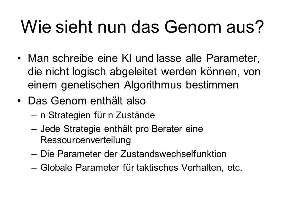 Wie sieht nun das Genom aus? Man schreibe eine KI und lasse alle Parameter, die nicht logisch abgeleitet werden können, von einem genetischen Algorith