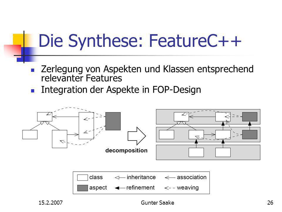 15.2.2007Gunter Saake26 Die Synthese: FeatureC++ Zerlegung von Aspekten und Klassen entsprechend relevanter Features Integration der Aspekte in FOP-Design