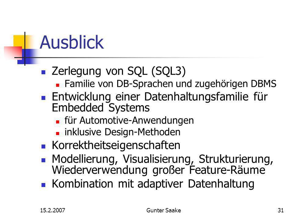 15.2.2007Gunter Saake31 Ausblick Zerlegung von SQL (SQL3) Familie von DB-Sprachen und zugehörigen DBMS Entwicklung einer Datenhaltungsfamilie für Embedded Systems für Automotive-Anwendungen inklusive Design-Methoden Korrektheitseigenschaften Modellierung, Visualisierung, Strukturierung, Wiederverwendung großer Feature-Räume Kombination mit adaptiver Datenhaltung