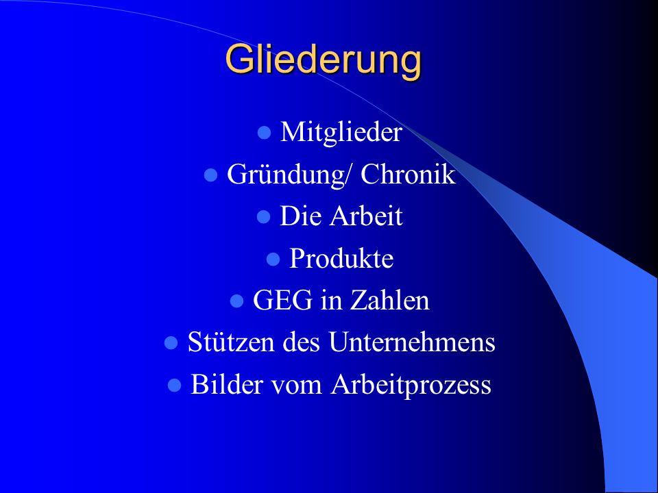 Gliederung Mitglieder Gründung/ Chronik Die Arbeit Produkte GEG in Zahlen Stützen des Unternehmens Bilder vom Arbeitprozess