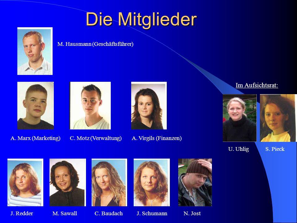 Die Mitglieder M. Hausmann (Geschäftsführer) A. Marx (Marketing)C. Motz (Verwaltung)A. Virgils (Finanzen) J. RedderM. SawallC. BaudachJ. Schumann S. P