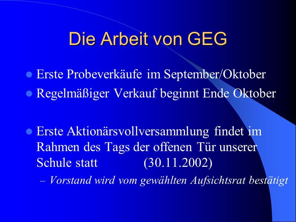 Die Arbeit von GEG Erste Probeverkäufe im September/Oktober Regelmäßiger Verkauf beginnt Ende Oktober Erste Aktionärsvollversammlung findet im Rahmen des Tags der offenen Tür unserer Schule statt (30.11.2002) – Vorstand wird vom gewählten Aufsichtsrat bestätigt