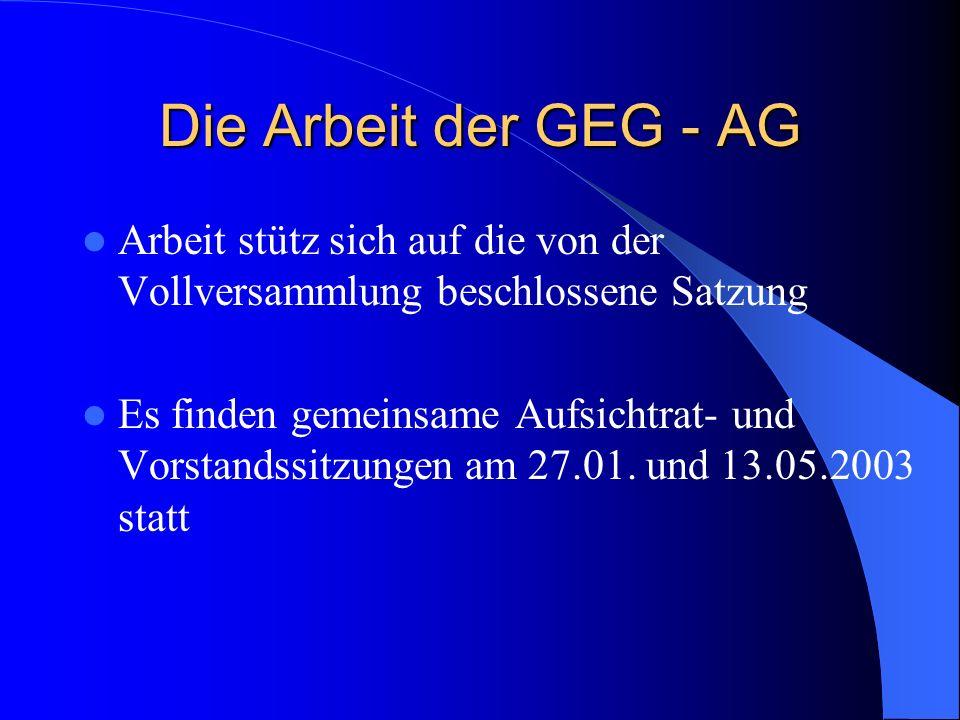Die Arbeit der GEG - AG Arbeit stütz sich auf die von der Vollversammlung beschlossene Satzung Es finden gemeinsame Aufsichtrat- und Vorstandssitzungen am 27.01.
