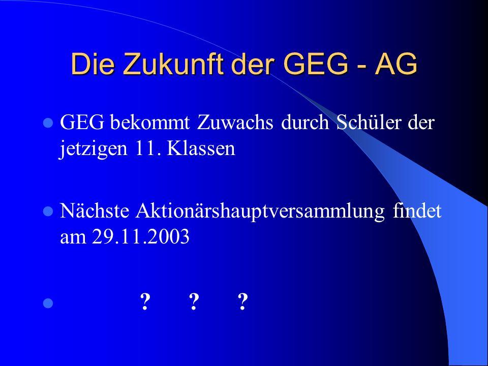 Die Zukunft der GEG - AG GEG bekommt Zuwachs durch Schüler der jetzigen 11. Klassen Nächste Aktionärshauptversammlung findet am 29.11.2003 ???