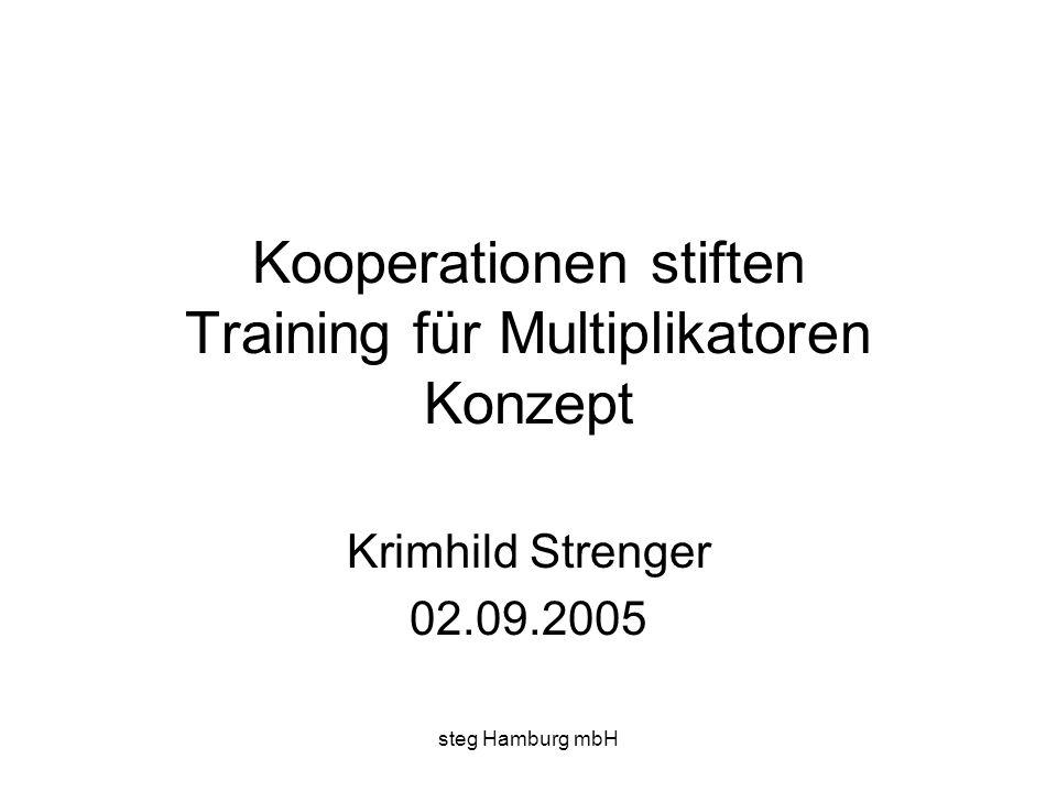 steg Hamburg mbH Kooperationen stiften Training für Multiplikatoren Konzept Krimhild Strenger 02.09.2005