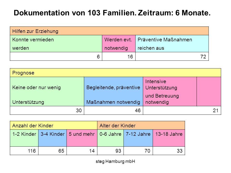 steg Hamburg mbH Hilfen zur Erziehung Konnte vermieden Werden evt.Präventive Maßnahmen werden notwendigreichen aus 616 72 Prognose Keine oder nur weni