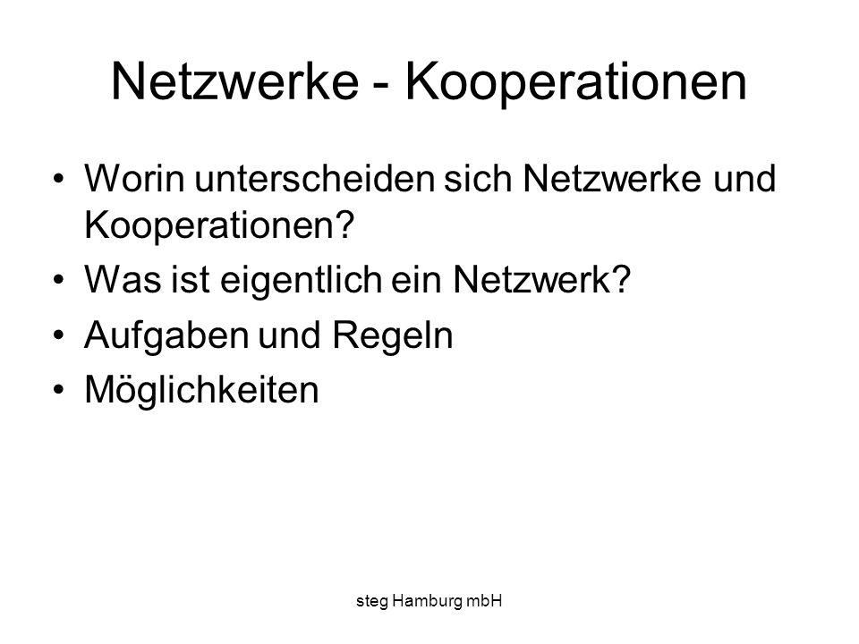 steg Hamburg mbH Netzwerke - Kooperationen Worin unterscheiden sich Netzwerke und Kooperationen? Was ist eigentlich ein Netzwerk? Aufgaben und Regeln