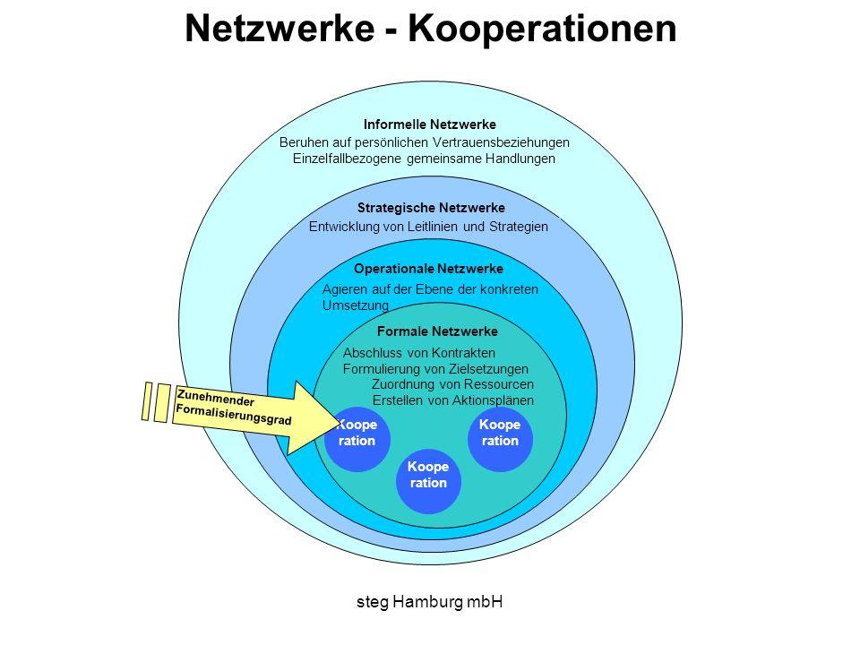 steg Hamburg mbH Beruhen auf persönlichen Vertrauensbeziehungen Einzelfallbezogene gemeinsame Handlungen Informelle Netzwerke Strategische Netzwerke E