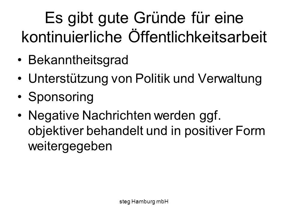 steg Hamburg mbH Es gibt gute Gründe für eine kontinuierliche Öffentlichkeitsarbeit Bekanntheitsgrad Unterstützung von Politik und Verwaltung Sponsoring Negative Nachrichten werden ggf.