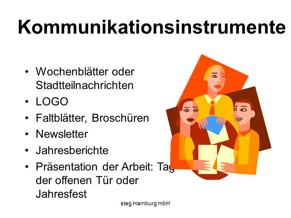 steg Hamburg mbH Kommunikationsinstrumente Wochenblätter oder Stadtteilnachrichten LOGO Faltblätter, Broschüren Newsletter Jahresberichte Präsentation der Arbeit: Tag der offenen Tür oder Jahresfest