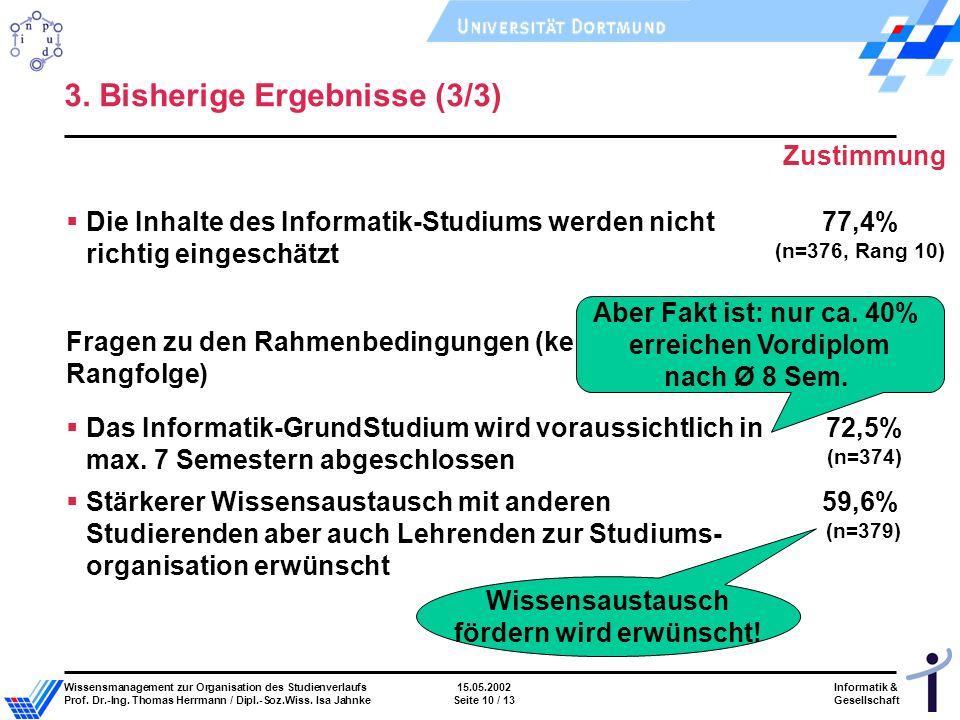 Informatik & Gesellschaft Wissensmanagement zur Organisation des Studienverlaufs15.05.2002 Prof.
