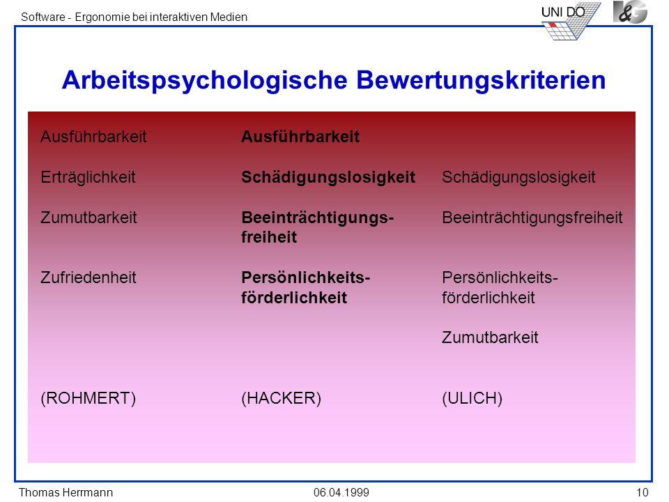 Thomas Herrmann Software - Ergonomie bei interaktiven Medien 06.04.199910 Arbeitspsychologische Bewertungskriterien Ausführbarkeit ErträglichkeitSchäd
