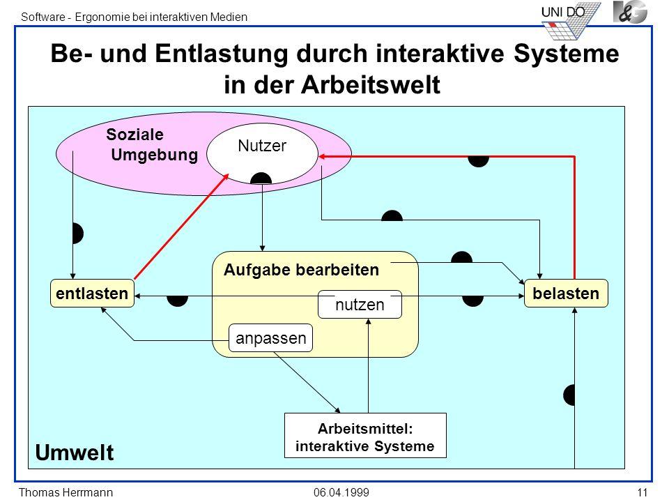 Thomas Herrmann Software - Ergonomie bei interaktiven Medien 06.04.199911 Umwelt Soziale Umgebung Be- und Entlastung durch interaktive Systeme in der