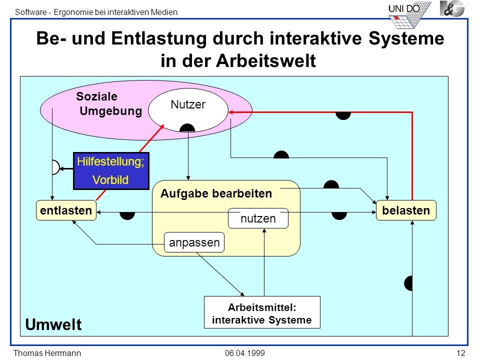 Thomas Herrmann Software - Ergonomie bei interaktiven Medien 06.04.199912 Umwelt Soziale Umgebung Be- und Entlastung durch interaktive Systeme in der