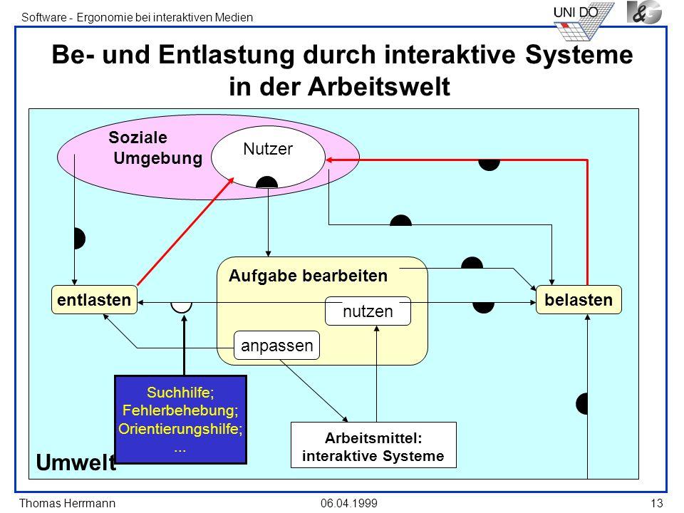 Thomas Herrmann Software - Ergonomie bei interaktiven Medien 06.04.199913 Umwelt Soziale Umgebung Be- und Entlastung durch interaktive Systeme in der
