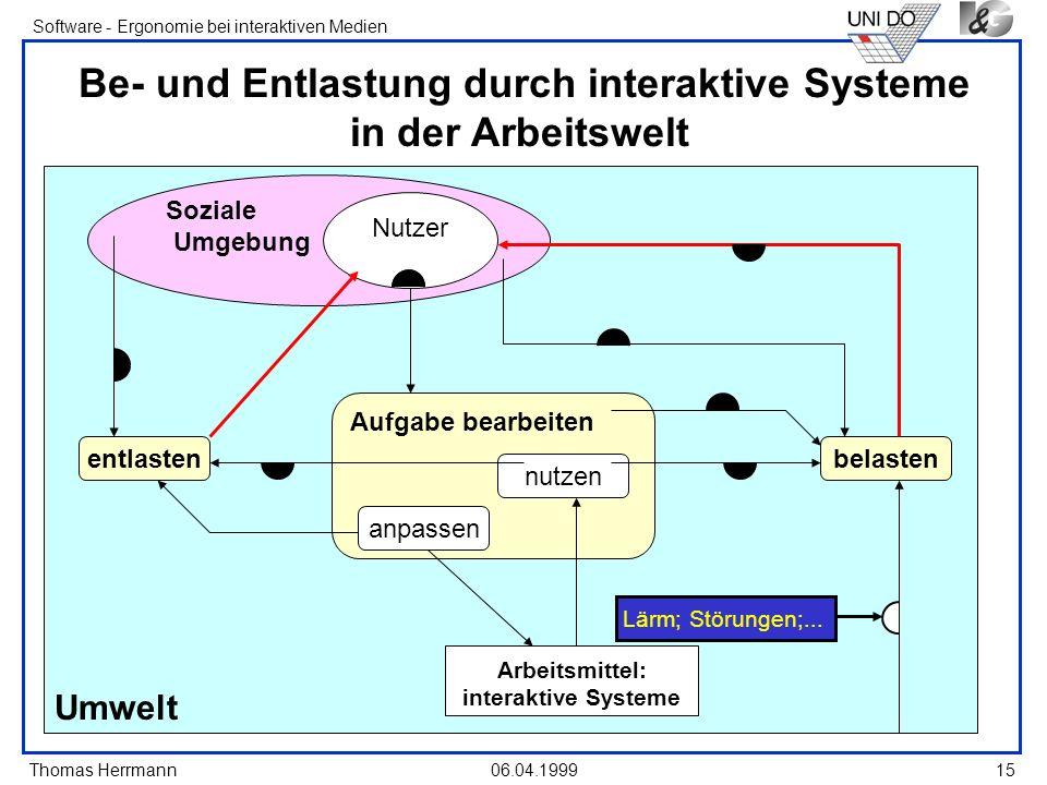 Thomas Herrmann Software - Ergonomie bei interaktiven Medien 06.04.199915 Umwelt Soziale Umgebung Be- und Entlastung durch interaktive Systeme in der
