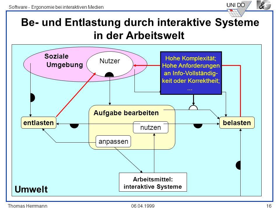 Thomas Herrmann Software - Ergonomie bei interaktiven Medien 06.04.199916 Umwelt Soziale Umgebung Be- und Entlastung durch interaktive Systeme in der