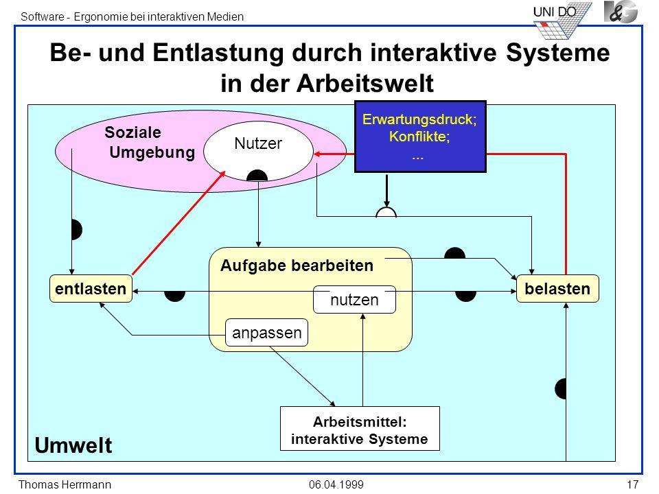 Thomas Herrmann Software - Ergonomie bei interaktiven Medien 06.04.199917 Umwelt Soziale Umgebung Be- und Entlastung durch interaktive Systeme in der
