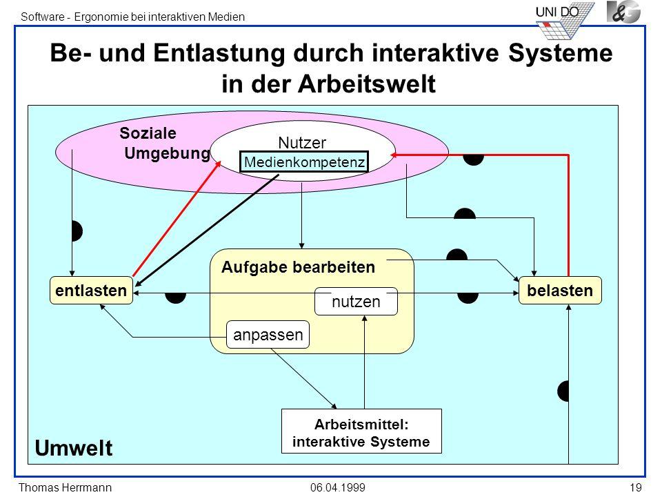 Thomas Herrmann Software - Ergonomie bei interaktiven Medien 06.04.199919 Umwelt Soziale Umgebung Be- und Entlastung durch interaktive Systeme in der