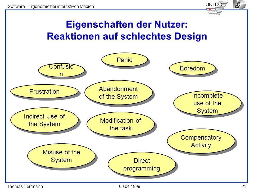 Thomas Herrmann Software - Ergonomie bei interaktiven Medien 06.04.199921 Eigenschaften der Nutzer: Reaktionen auf schlechtes Design Confusio n Panic