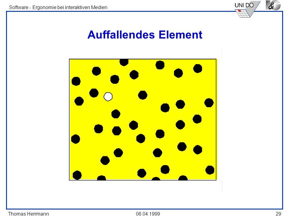 Thomas Herrmann Software - Ergonomie bei interaktiven Medien 06.04.199929 Auffallendes Element