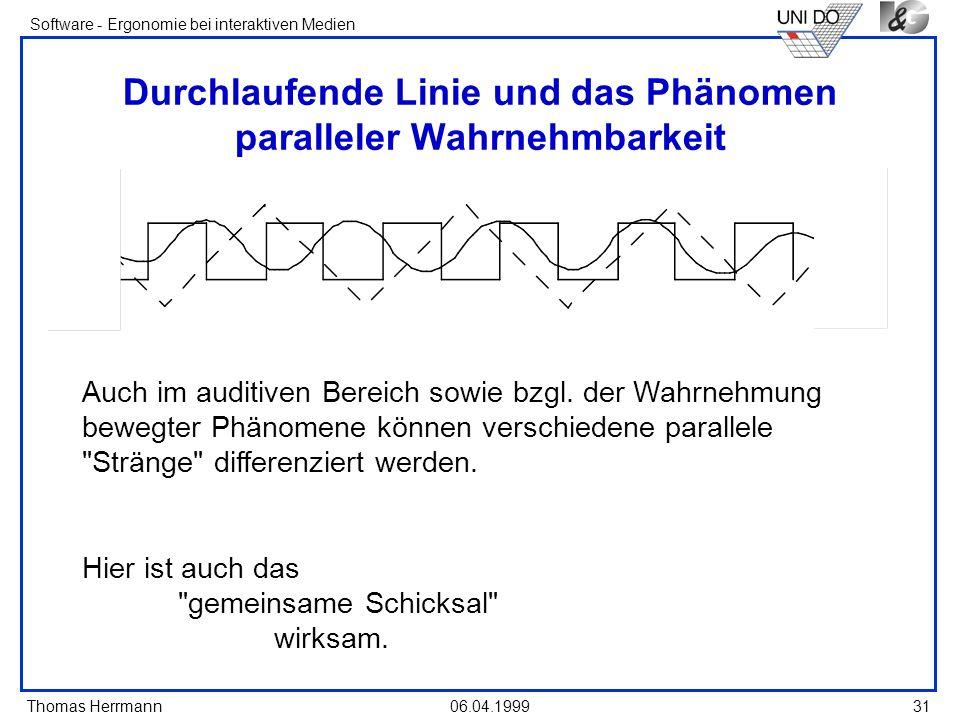 Thomas Herrmann Software - Ergonomie bei interaktiven Medien 06.04.199931 Durchlaufende Linie und das Phänomen paralleler Wahrnehmbarkeit Auch im audi