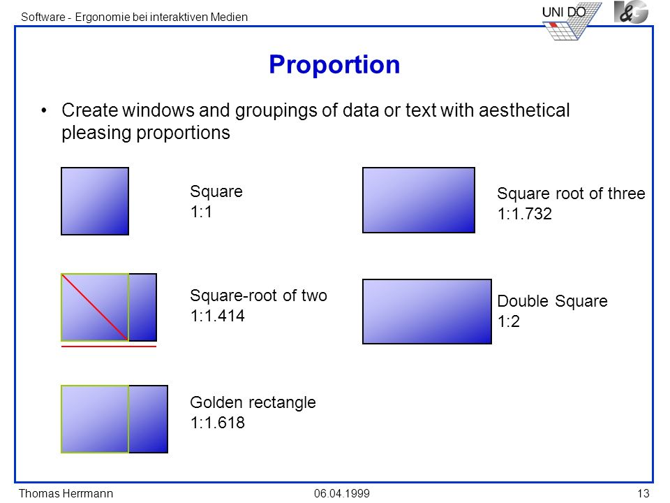 Thomas Herrmann Software - Ergonomie bei interaktiven Medien 06.04.1999 13 Proportion Create windows and groupings of data or text with aesthetical pl