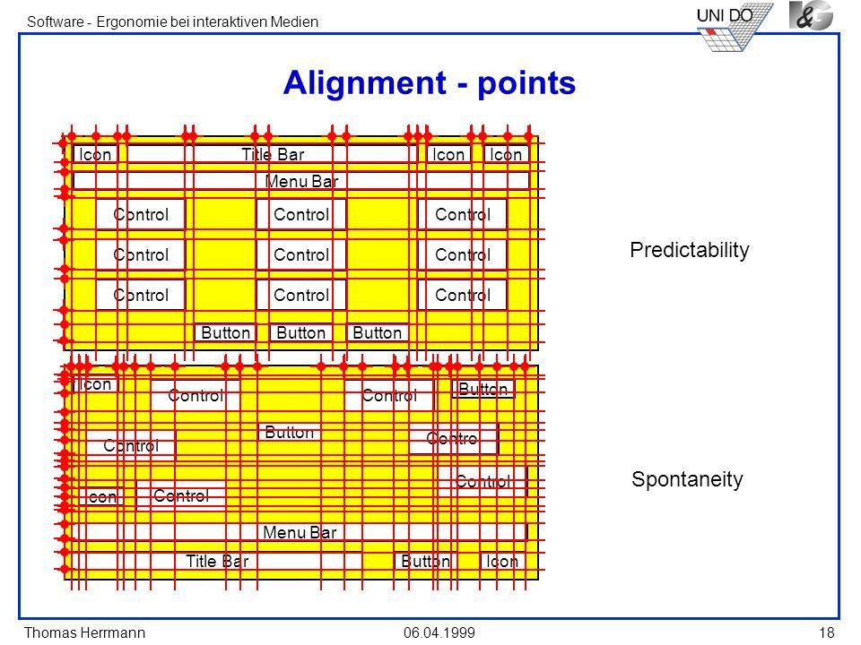 Thomas Herrmann Software - Ergonomie bei interaktiven Medien 06.04.1999 18 Alignment - points IconTitle BarIcon Menu Bar Control Button Predictability