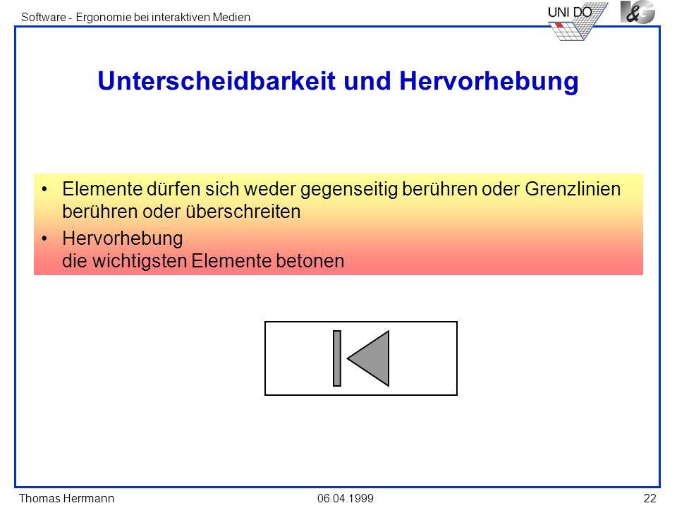Thomas Herrmann Software - Ergonomie bei interaktiven Medien 06.04.1999 22 Unterscheidbarkeit und Hervorhebung Elemente dürfen sich weder gegenseitig