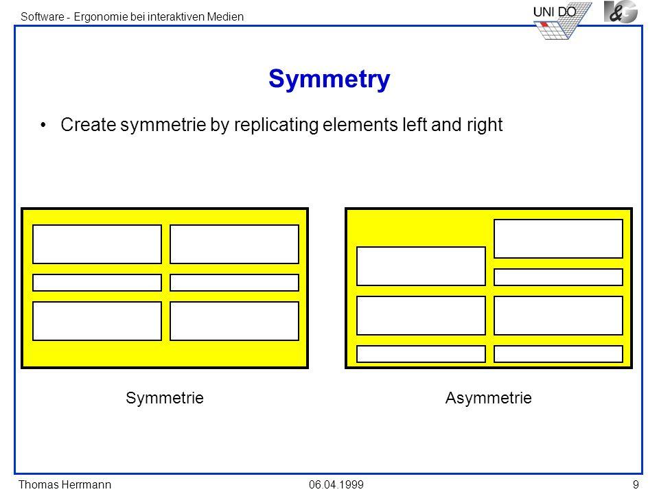 Thomas Herrmann Software - Ergonomie bei interaktiven Medien 06.04.1999 9 Symmetry Create symmetrie by replicating elements left and right SymmetrieAs