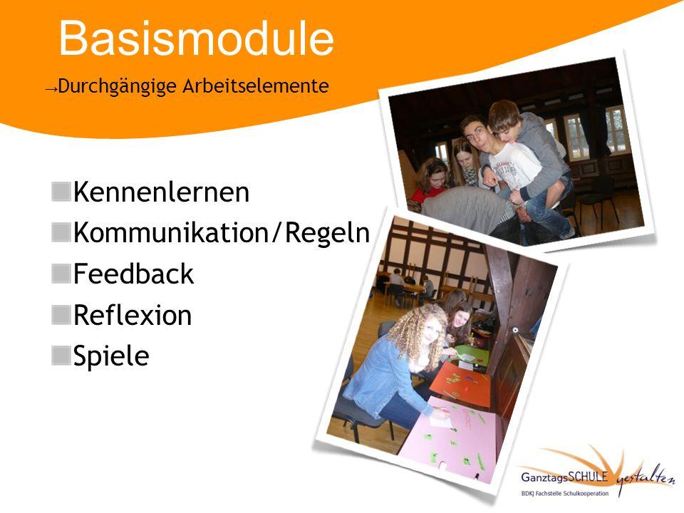 Basismodule Kennenlernen Kommunikation/Regeln Feedback Reflexion Spiele Durchgängige Arbeitselemente