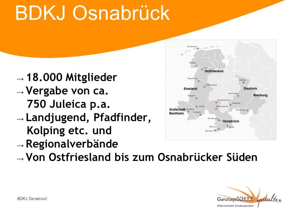 BDKJ Osnabrück 18.000 Mitglieder Vergabe von ca. 750 Juleica p.a. Landjugend, Pfadfinder, Kolping etc. und Regionalverbände Von Ostfriesland bis zum O