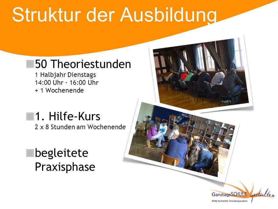 Struktur der Ausbildung 50 Theoriestunden 1 Halbjahr Dienstags 14:00 Uhr - 16:00 Uhr + 1 Wochenende 1. Hilfe-Kurs 2 x 8 Stunden am Wochenende begleite