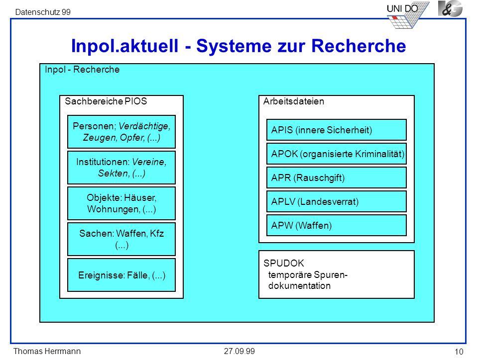 Thomas Herrmann Datenschutz 99 27.09.99 10 Inpol - Recherche Arbeitsdateien Sachbereiche PIOS Inpol.aktuell - Systeme zur Recherche Personen; Verdächt
