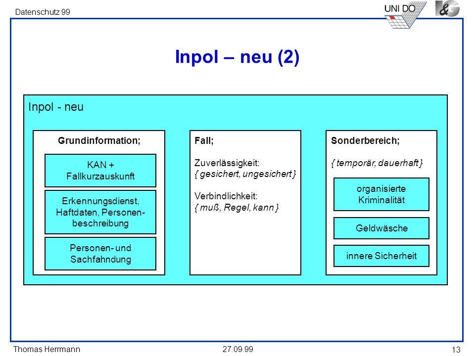 Thomas Herrmann Datenschutz 99 27.09.99 13 Inpol - neu Inpol – neu (2) Grundinformation; KAN + Fallkurzauskunft Erkennungsdienst, Haftdaten, Personen-