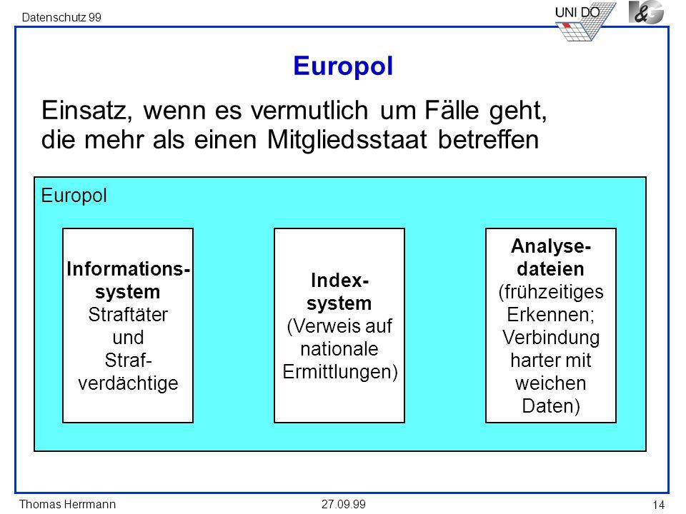 Thomas Herrmann Datenschutz 99 27.09.99 14 Europol Informations- system Straftäter und Straf- verdächtige Index- system (Verweis auf nationale Ermittl