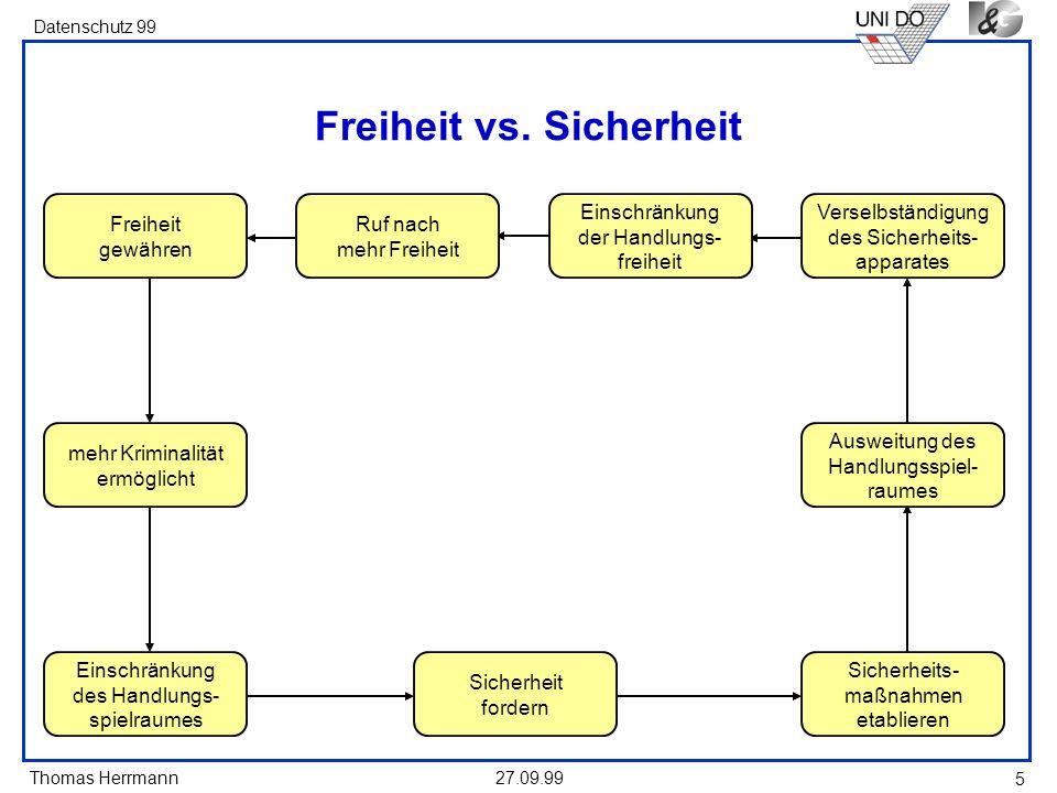 Thomas Herrmann Datenschutz 99 27.09.99 16 Verfahrensregeln Dateien sind zu kennzeichnen: –Zweck –Speicherinhalt –Eingabeberechtigte –Abfrageberechtigte –Verteilungsmechanismus Auskunft ist möglich, aber nur, wenn sie den Sicherheitsbelangen nicht entgegensteht.