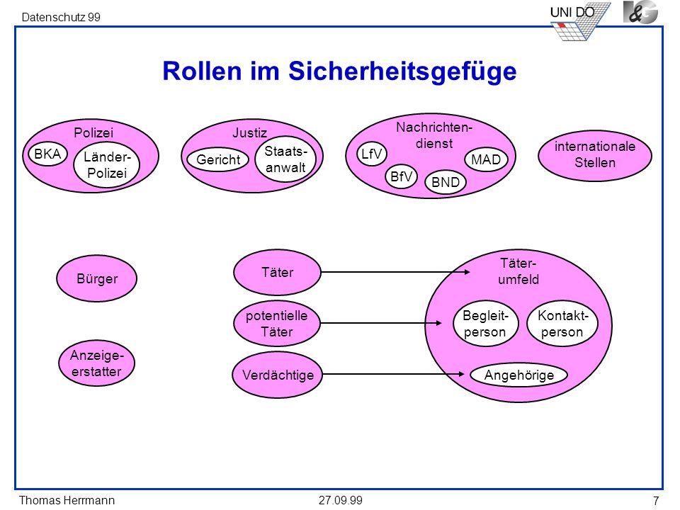 Thomas Herrmann Datenschutz 99 27.09.99 18 Rechtliche Grundlage: Datenerhebung (1) (s.