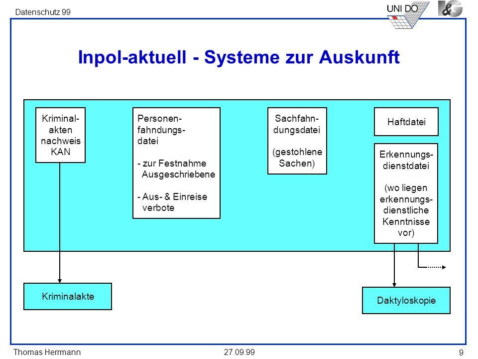 Thomas Herrmann Datenschutz 99 27.09.99 9 Inpol-aktuell - Systeme zur Auskunft Personen- fahndungs- datei - zur Festnahme Ausgeschriebene - Aus- & Ein