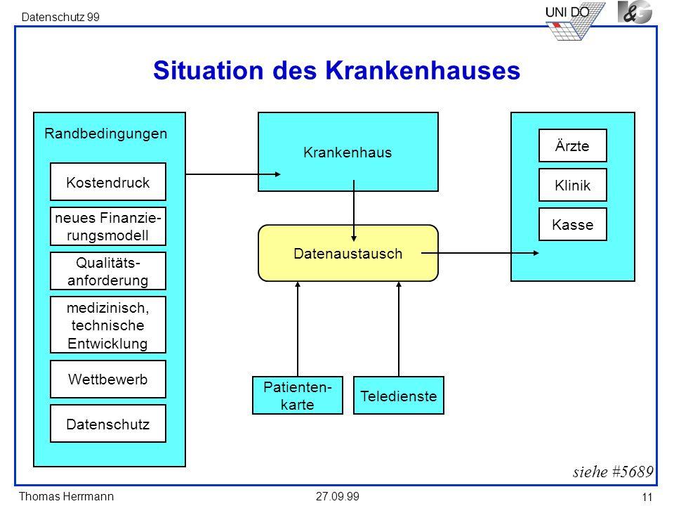 Thomas Herrmann Datenschutz 99 27.09.99 11 Situation des Krankenhauses siehe #5689 Krankenhaus neues Finanzie- rungsmodell Kostendruck Qualitäts- anfo